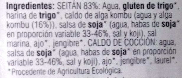 Seitán en lonchas - Ingredients