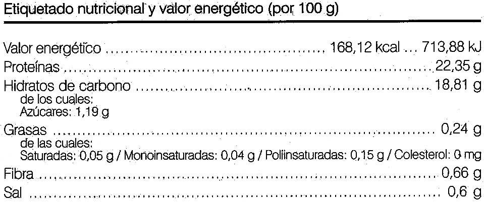 Seitan ecologico - Información nutricional