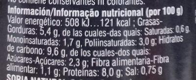 Seitán esponjoso al curry ecológico - Información nutricional