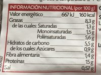 Tofu Ahumado - Nutrition facts