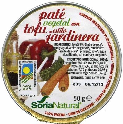 Paté vegetal con tofu estilo jardinera - Producto