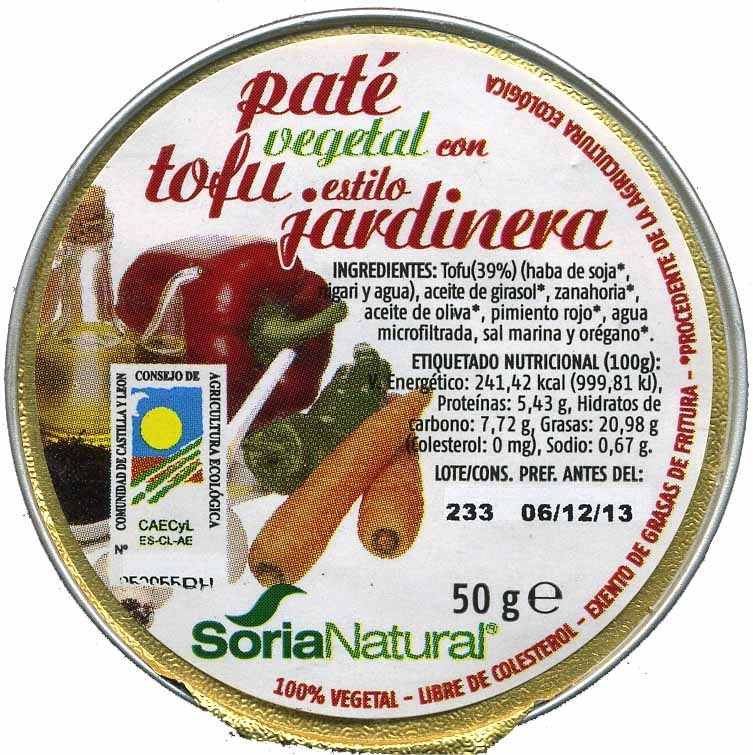 Paté vegetal con tofu estilo jardinera - Producte - es