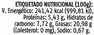 Paté vegetal con tofu estilo jardinera - Información nutricional