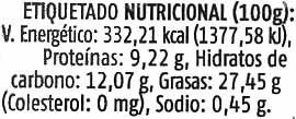 Paté vegetal con tofu y semillas - Nutrition facts - es