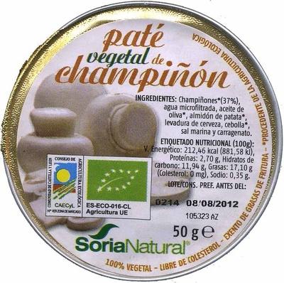 "Paté vegetal ecológico ""Soria Natural"" con champiñones - Producto"