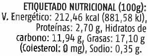 """Paté vegetal ecológico """"Soria Natural"""" con champiñones - Información nutricional"""