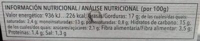 Paté vegetal de alcachofa - Informació nutricional