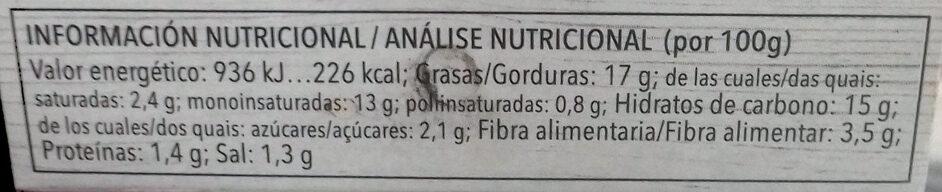 Paté vegetal de alcachofa - Información nutricional - es