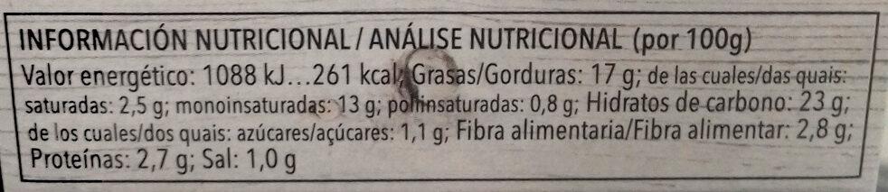 Paté vegetal de champiñón - Información nutricional - es