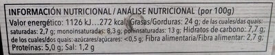 Paté vegetal de quinoa - Información nutricional