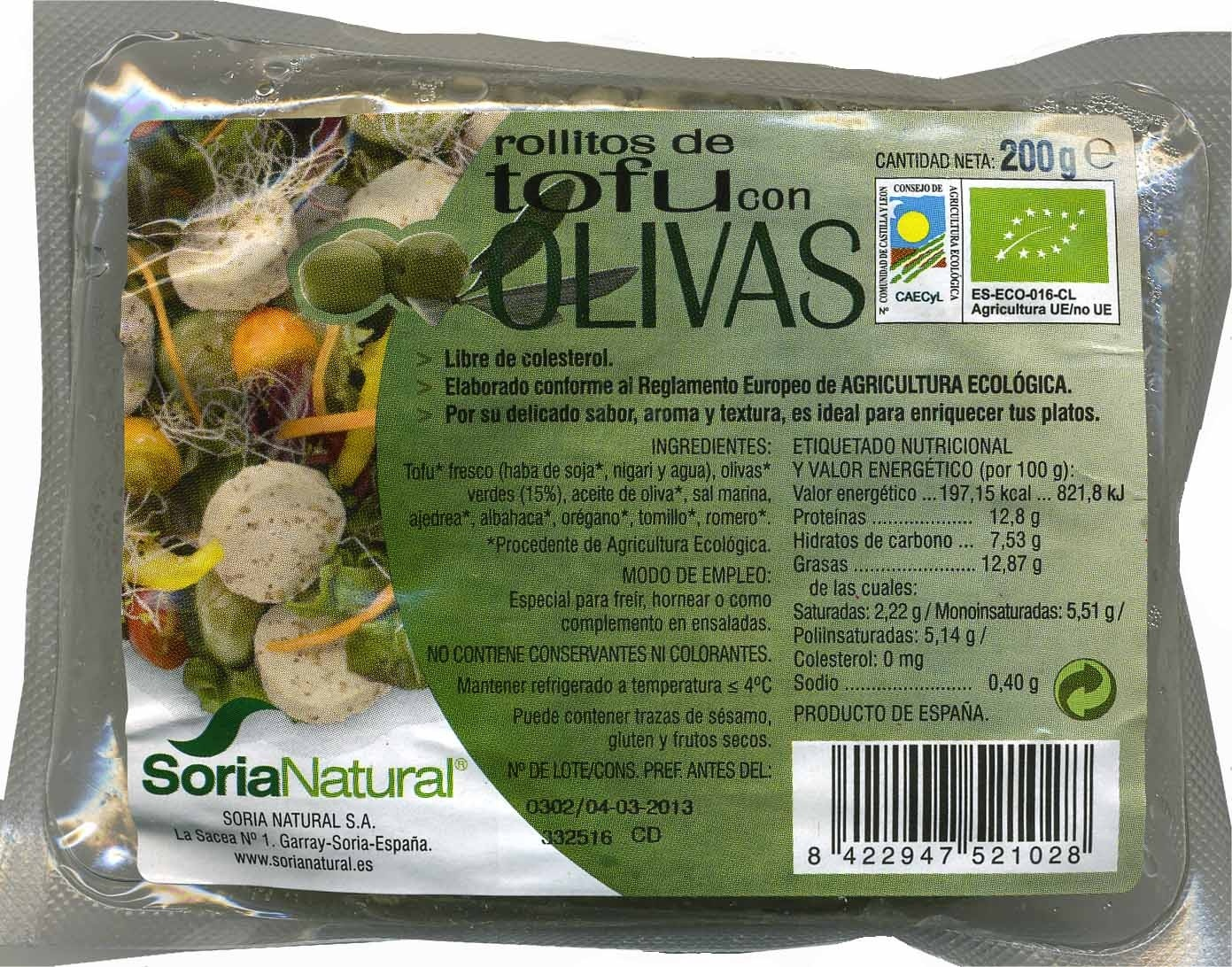 Rollitos de tofu con olivas - Product - es