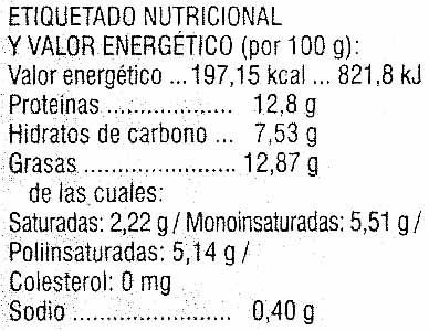 """Tofu ecológico """"Soria Natural"""" En rollitos con olivas - Informació nutricional"""