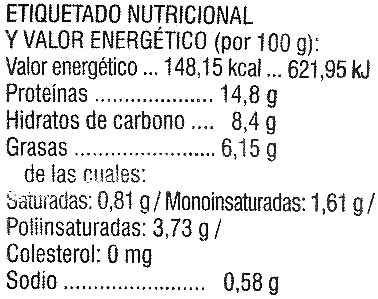 Rollitos de tofu con sésamo tostado - Nutrition facts - es