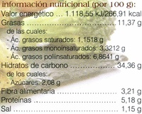 Empanada vegetal de brócoli - Información nutricional