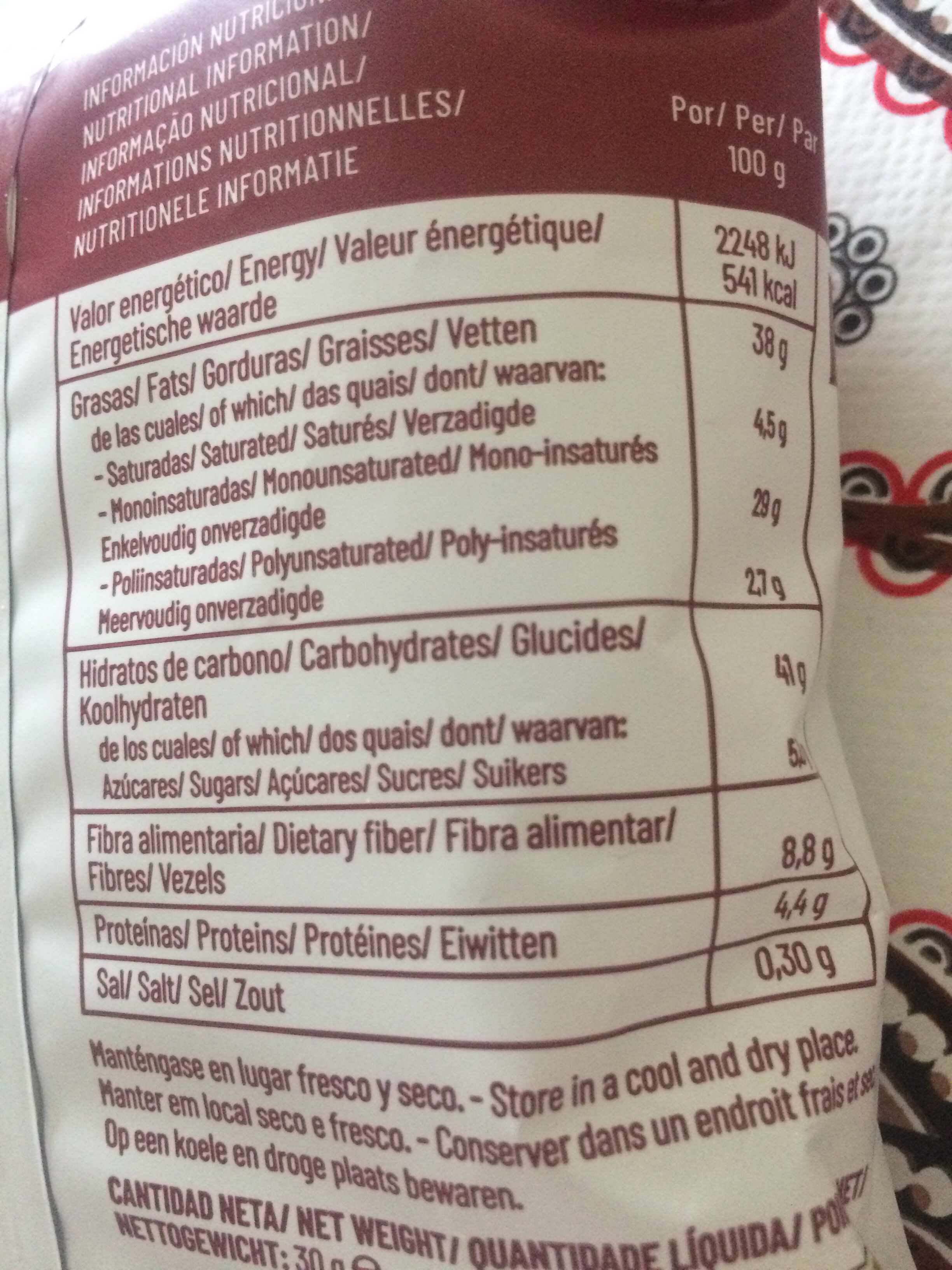 Chips vegetales - Nutrition facts - es