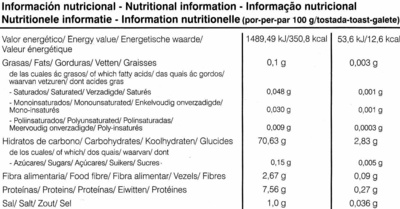 Tostadas ligeras de arroz integral y trigo sarraceno - Informations nutritionnelles - es