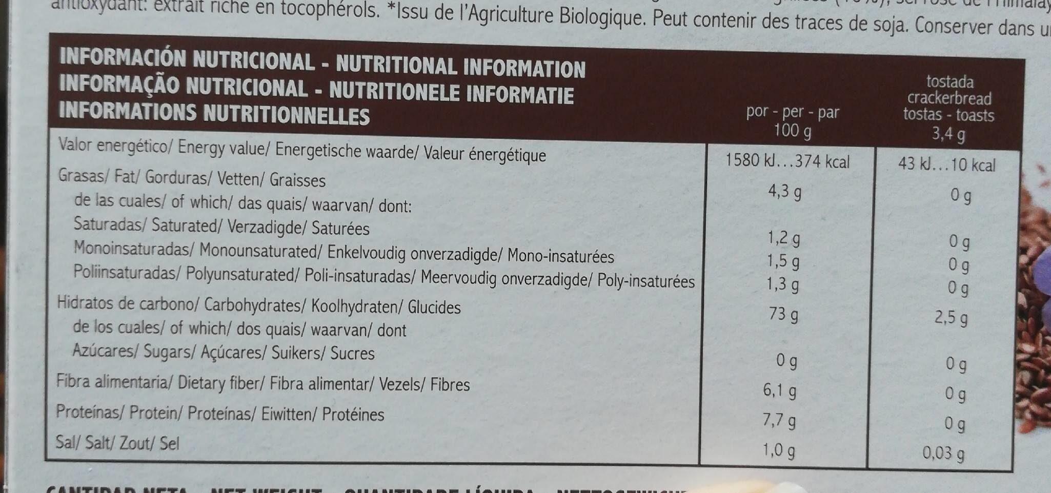 Tostadaa ligeras arroz integral y lino - Información nutricional - es