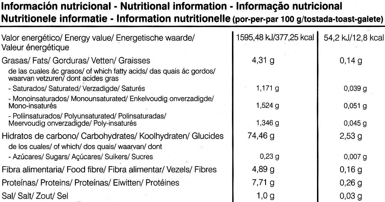 Tostadaa ligeras arroz integral y lino - Información nutricional