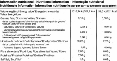 Tostadas ligeras de arroz y quinoa - Informations nutritionnelles - es