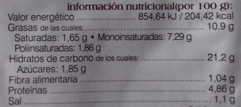 Tortilla de patatas - Informació nutricional - es