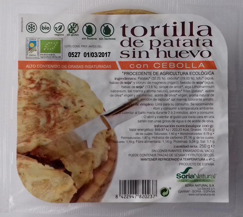 Tortilla de patata sin huevo con cebolla - Producto