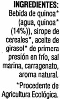"Bebida de quinoa ecológica ""Soria Natural"" - Ingredientes"
