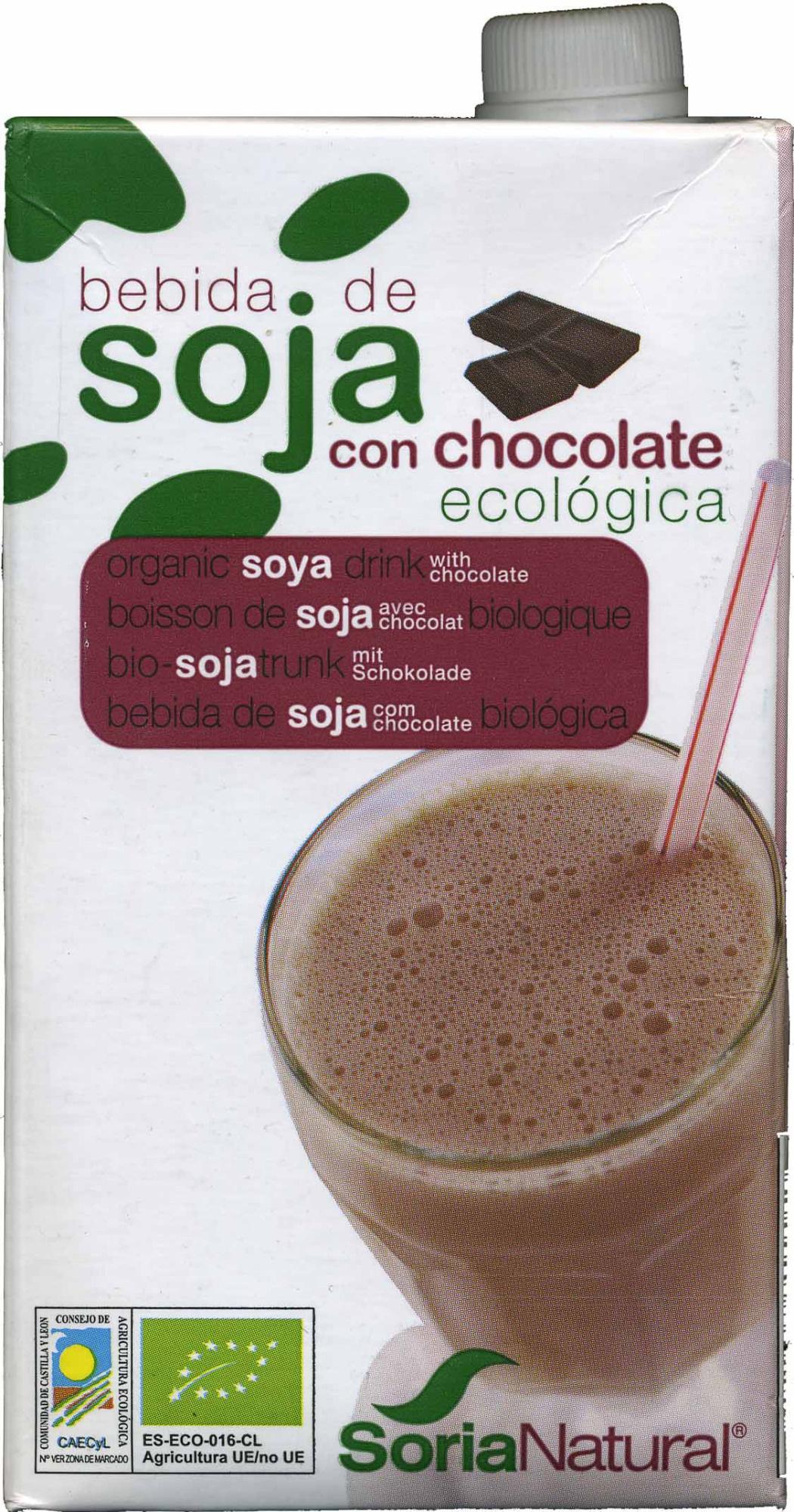 """Bebida de soja ecológica """"Soria Natural"""" con chocolate - Producte"""