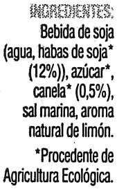 """Bebida de soja ecológica """"Soria Natural"""" con canela al limón - Ingredients"""
