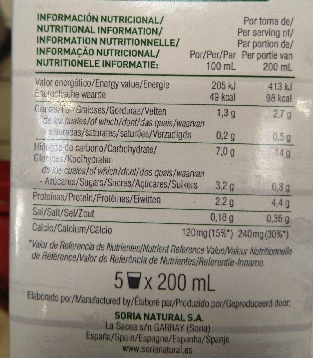 Bebida de soja orgánica ecológica - Nutrition facts - es