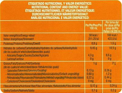 Bebida de arroz ecológica - Información nutricional - es