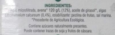 Bebida de avena ecológica - Ingredientes