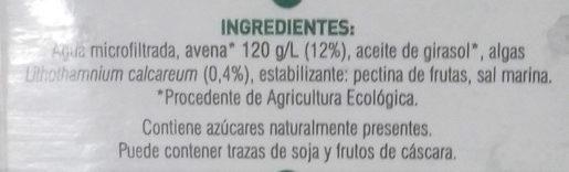 Bebida de avena ecológico con Calcio - Ingredientes - es