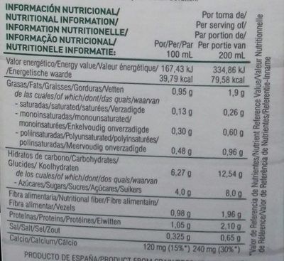 Bebida de avena ecológica - Información nutricional