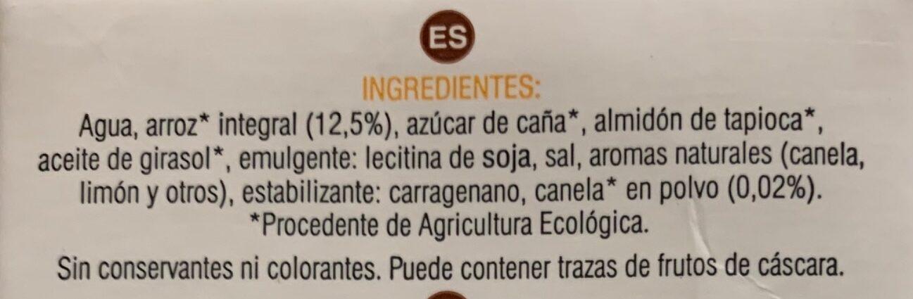 Bebida de arroz integral con canela al limón - Ingredients - es
