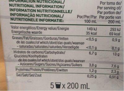 Bebida de alpiste ecológica y sin lactosa - Nutrition facts - es