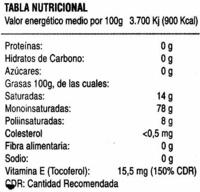 Aceite de oliva virgen extra D.O. Estepa botella 1 l - Información nutricional