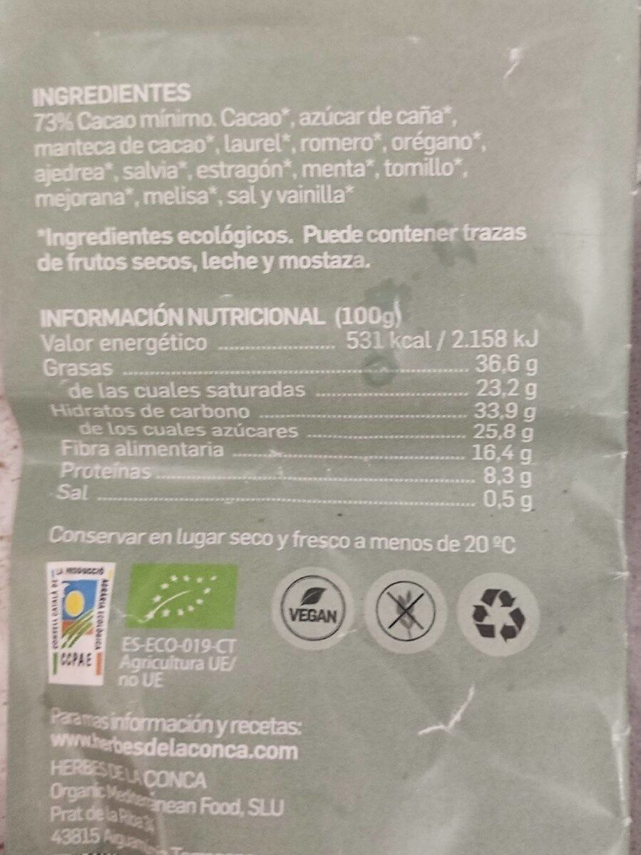 Chocolate negro 73% - Nutrition facts - es