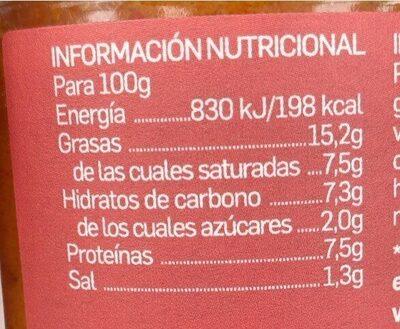 Paté vegetal de pimiento y cúrcuma - Voedingswaarden - es