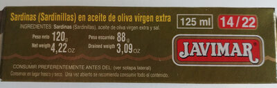 Sardinillas en aceite de oliva virgen extra - Ingredients - es