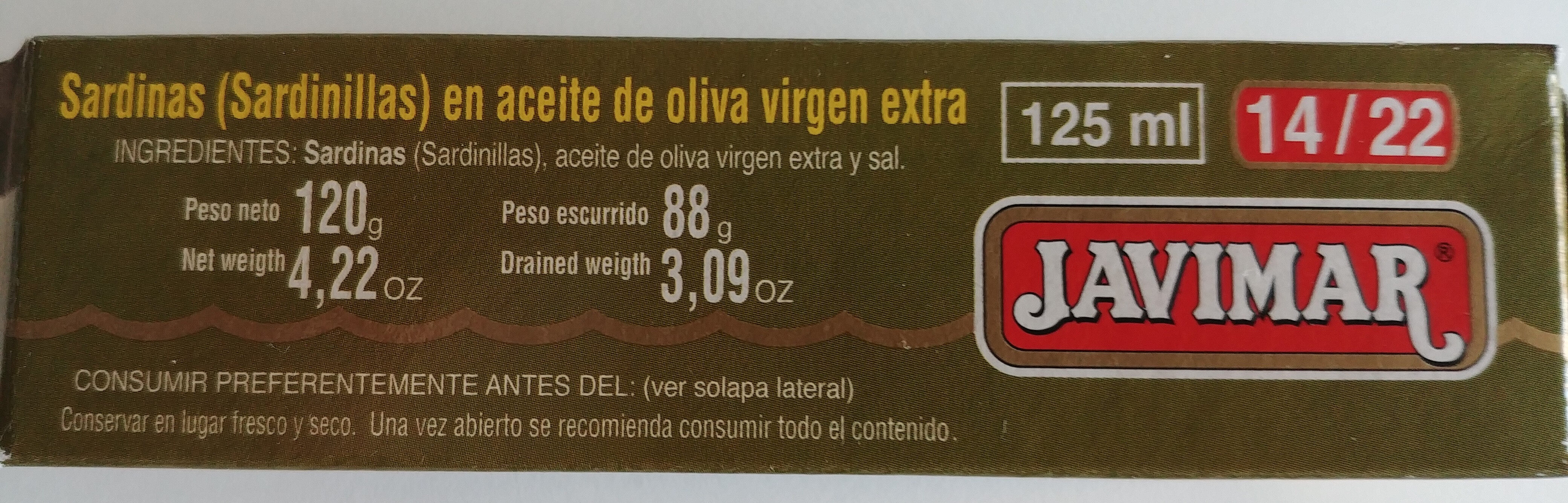Sardinillas en aceite de oliva virgen extra - Ingredients - es