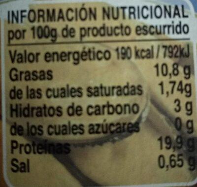 """Mejillones del pacifico """"fritos"""" en escabeche - Informació nutricional - es"""