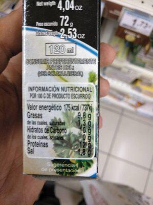 Chipirones rellenos en aceite de girasol - Informació nutricional - es
