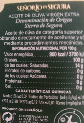 Aceite virgen extra - Informations nutritionnelles