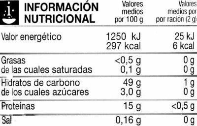 Café soluble descafeinado - Información nutricional - es