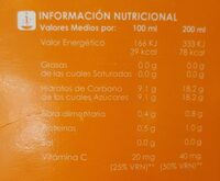 Zumo de naranja - Nutrition facts - es