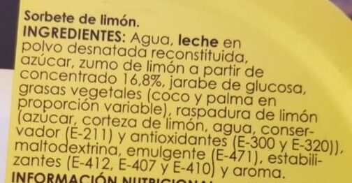 Helado de limón - Ingredients - es