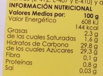 Helado de limón - Nutrition facts - es