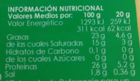 Queso sandwich - Nutrition facts