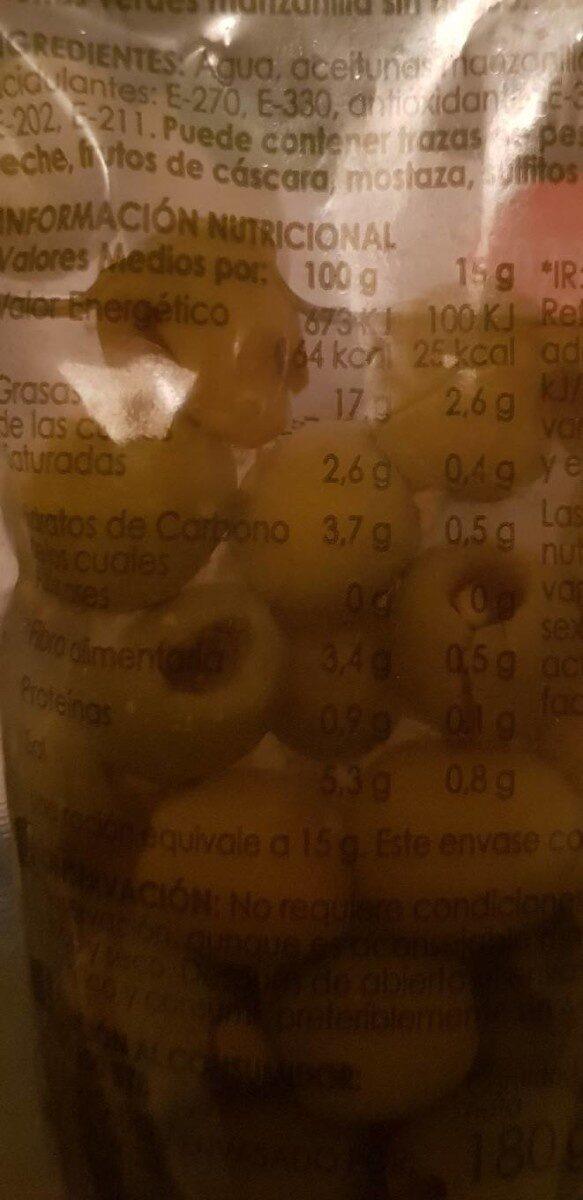 Aceitunas Verdes Manzanilla sin hueso - Nutrition facts - es