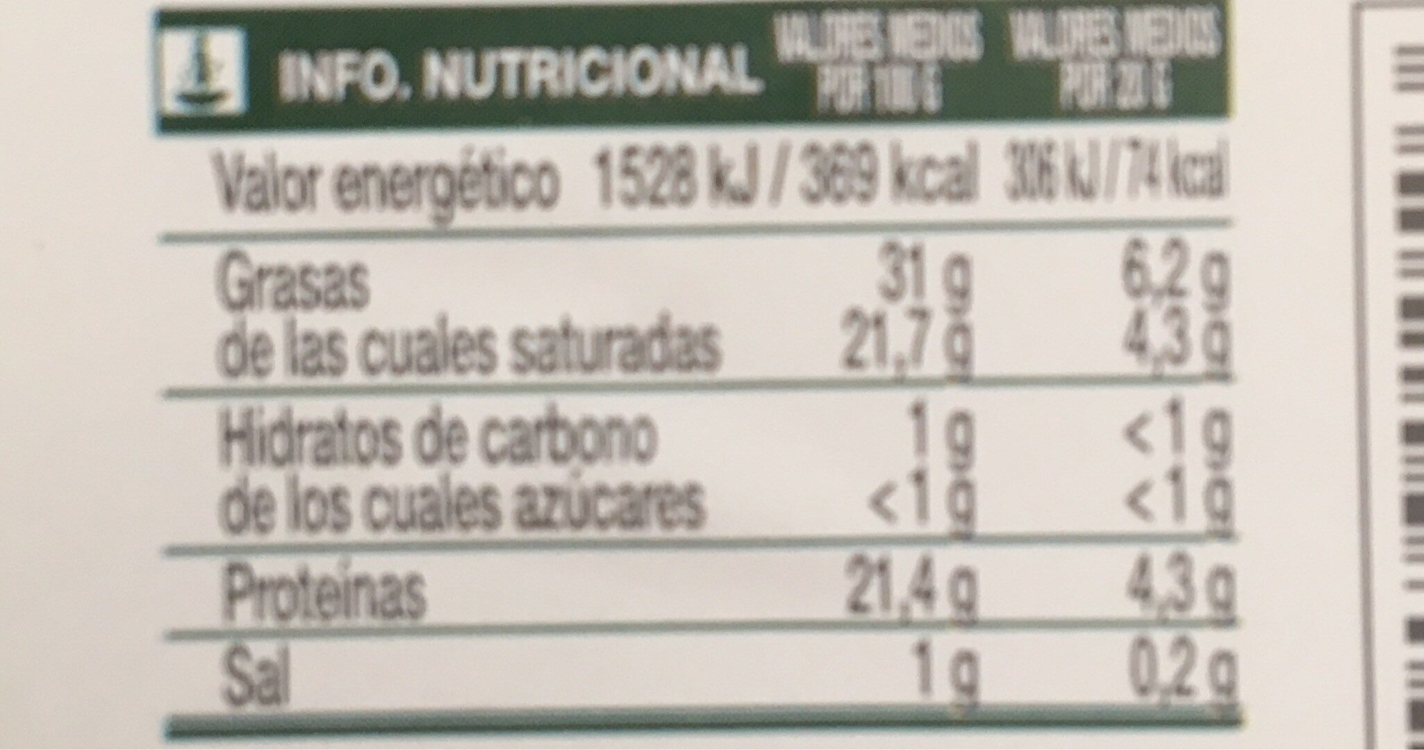 Quedo mezcla semicurado en lonchas - Nutrition facts